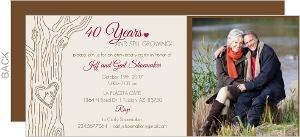 Tree Monogram 40th Wedding Anniversary Invitation