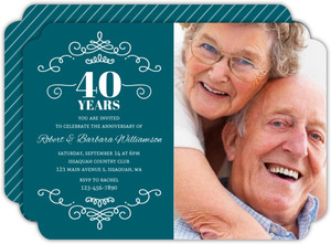 Decorative Swirls 40th Anniversary Invitation