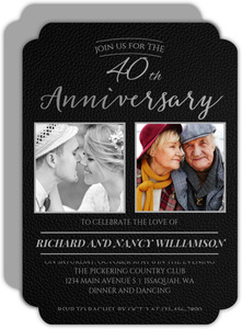 Black Formal Faux Leather 40th Anniversary Invitation