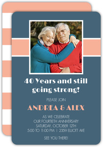Stripe Photo 40th Anniversary Party Invite