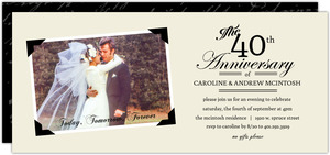 Vintage Black and Cream Photo Frame 40th Anniversary Invitation