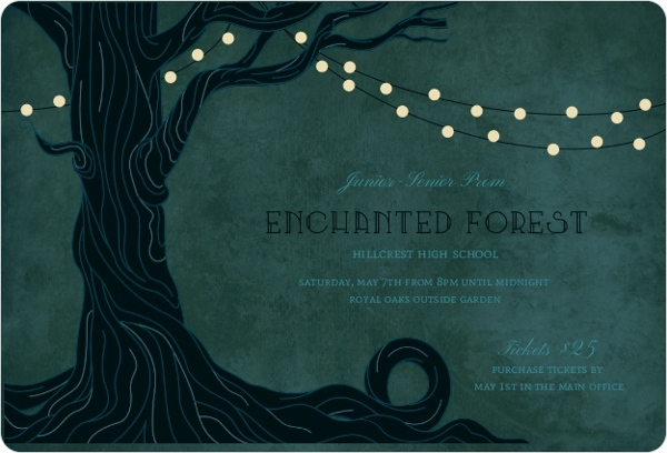 Enchanted Forest Themed Wedding Invitations: Enchanted Forest Prom Invitation