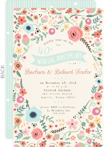 Great Beautiful Floral 40Th Wedding Anniversary Invitation