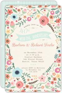 Beautiful Floral 40th Wedding Anniversary Invitation