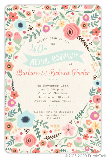 40th Wedding Anniversary.Beautiful Floral 40th Wedding Anniversary Invitation