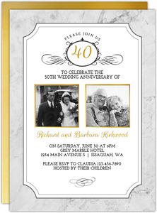 Gold Photo Frame Antique 40th Anniversary Invitation