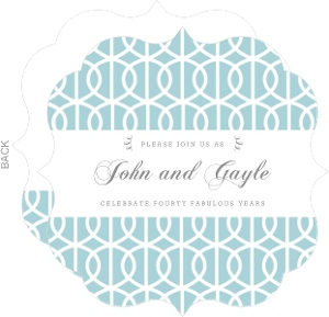 Retro Blue Circles 40Th Wedding Anniversary Invitation