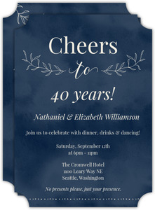 Textured Watercolor Botanical 40th Wedding Anniversary Invitation