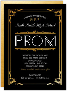 Golden Great Gatsby High School Prom Invitation