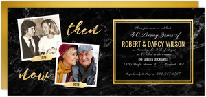 Faux Gold & Marble 40th Anniversary Invitation