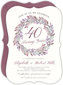 Elegant Watercolor Wreath 40th Anniversary Invitation