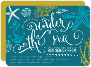 Teal Sketchy Under The Sea Prom Invitation