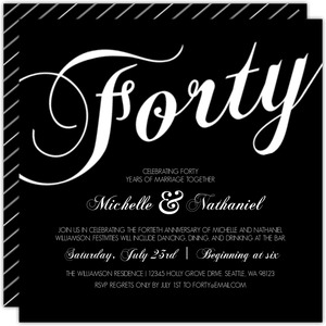 Elegant Black And White Stripes 40th Anniversary Invitation