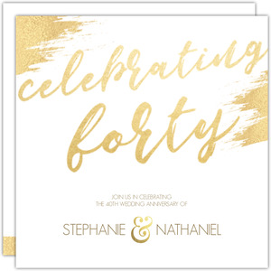 Faux Gold Brush Strokes 40th Anniversary Invitation