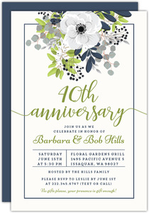 Elegant Floral Decor 40th Anniversary Invitation