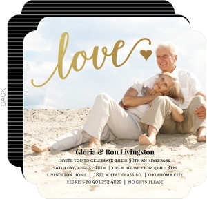 Faux Foil Love 50Th Anniversary Invitation