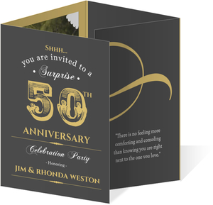 Vintage Quadfold Golden Anniversary Invitation
