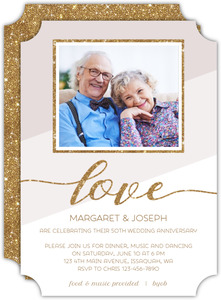 Modern Glitter Frame 50th Anniversary Invitation