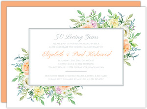 Corner Floral Frame 50th Anniversary Invitation
