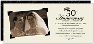 Vintage Black and Cream Photo Frame Golden Anniversary Invitation