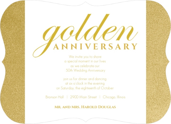 Cheap 50th Wedding Anniversary Invitations: Shimmering Golden 50Th Anniversary Party Invitation