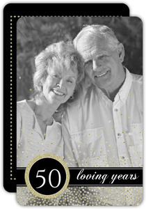 Faux Gold Glitter Confetti 50th Wedding Anniversary Invitation