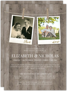 Now And Then Hanging Photos 50th Wedding Anniversary Invitation