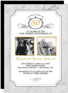 Gold Photo Frame Antique  50th Anniversary Invite