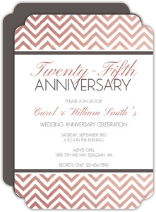 Chevron Rose Gold Anniversary Invitation