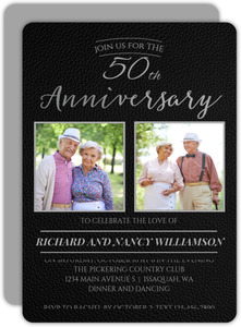 Black Formal Faux Leather 50th Anniversary Invitation