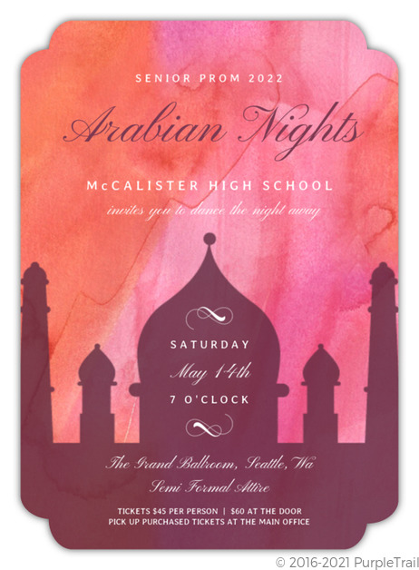 Bright Colors Arabian Nights Prom Invitation Prom Invitations