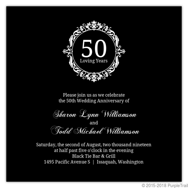 Black white elegant monogram 50th anniversary invitation 50th black white elegant monogram 50th anniversary invitation stopboris Image collections