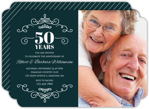 Decorative Swirls 50th Anniversary Invitation