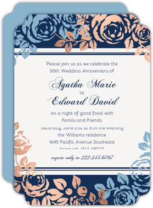 Faux Copper Foil Blue Floral 50th Anniversary Invitations