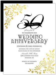 Formal Gold Foil Florals 50th Anniversary Invitation
