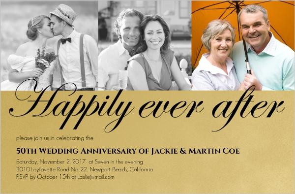Golden Formal 50th Wedding Anniversary Party Invitation