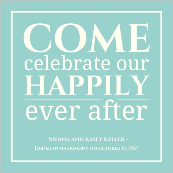 Aqua Happily Ever After  50th Anniversary Party Invitations