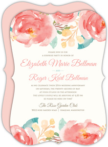 Pink Elegant Watercolor Flower 50th Anniversary Invitation