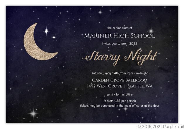 Starry night prom invitation prom invitations starry night prom invitation stopboris Image collections