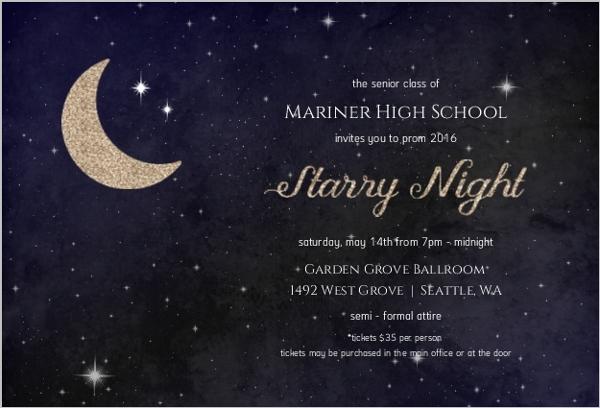 Starry night prom invitation prom invitations starry night prom invitation stopboris Gallery