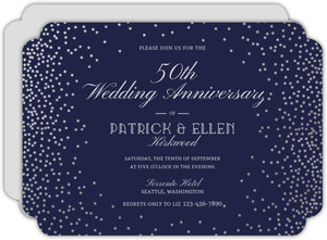 Silver Confetti Frame 50th Anniversary Invitation