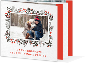 Winter Leaves And Berries Booklet Christmas Card