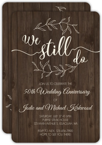 Textured Wood Botanical 50th Anniversary Invitation