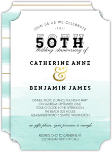 Modern Dip Dyed Watercolor 50th Anniversary Invitation