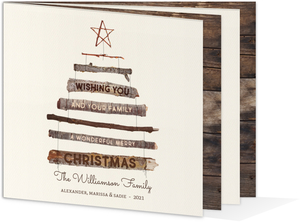 Rustic Wood Tree Booklet Christmas Card