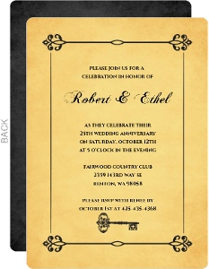 Black And Yellow Ornate Frame 50Th Anniversary Invite