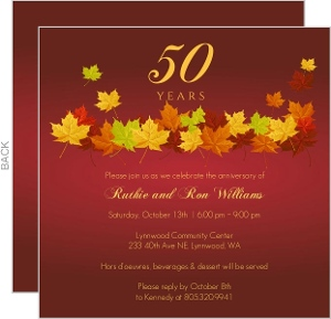 Red Anniversary Fall Leaves Anniversary Invitation - 4043