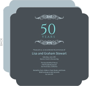 Gray And Teal Anniversary Invitation - 4050