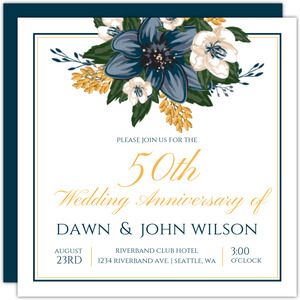 Modern Blue Floral 50th Anniversary Invitation