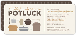 Neutral Colored Potluck Family Reunion Party Invitation